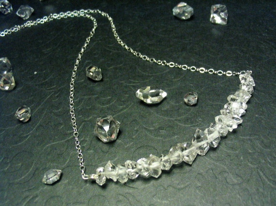 Herkimer Diamond and Sterling Silver -- Sex and the City Carrie's Diamond Necklace -- 17 inches