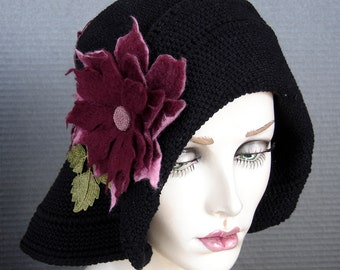 Flapper Style Black Cotton Crochet Cloche On Sale