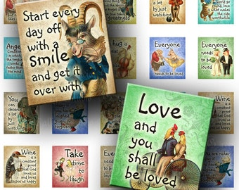 INSTANT DOWNLOAD Digital Images Sheet Vintage Funny Animals Storybook Quotes Phrases .75 x .873 Inch Tiles for Scrabble Pendants (S107)