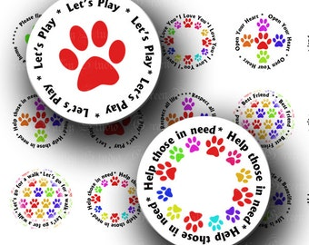 INSTANT DOWNLOAD Shelter Dog Love Words Pet Paw Print Digital Images Collage Sheet One Inch Circles for Pendants Magnets Crafts (C145)