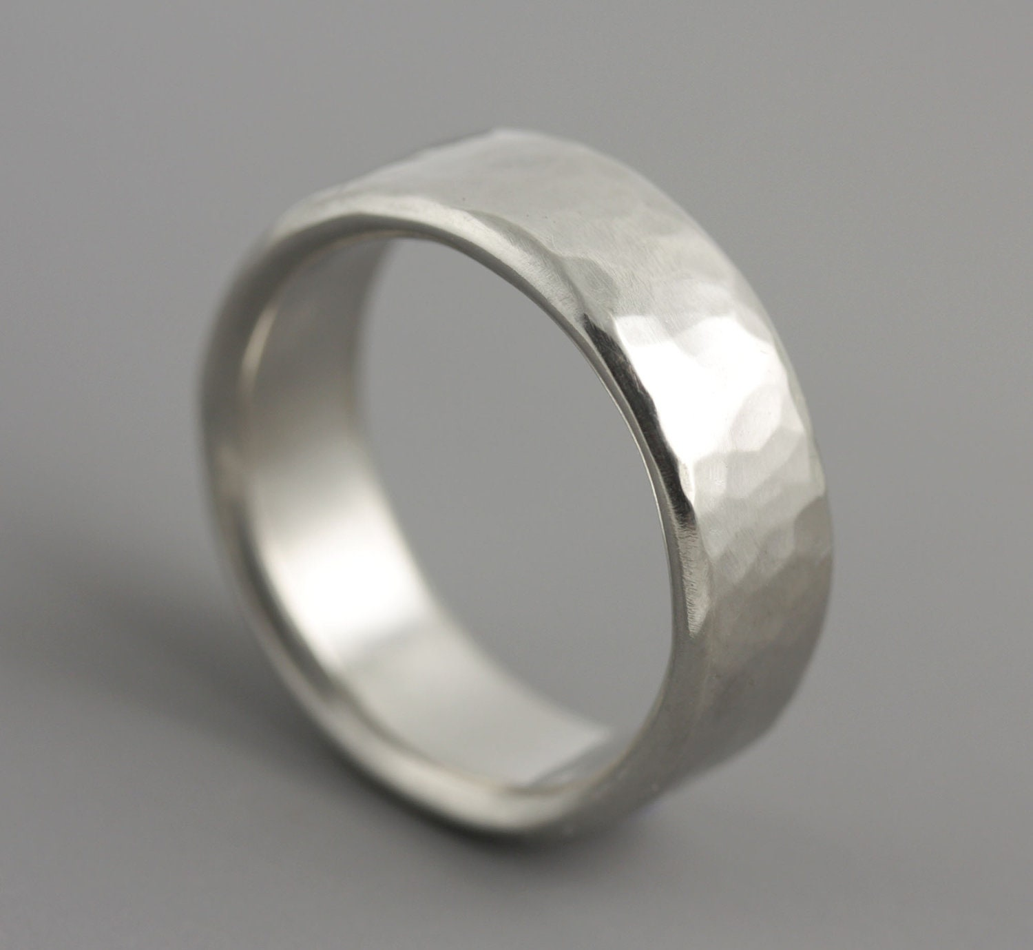 mans hammered palladium wedding ring silver mens wedding bands zoom