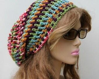 Northern Lights slouchy beanie, smaller Dread Tam hat, Slouchy Beanie Hippie Snood Hat, woman slouchy hat, summer hat
