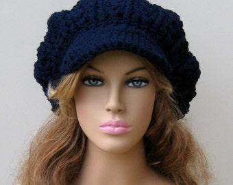 Navy blue Newsboy Cap, Visor Tam Hat Hippie Slouchy Newsboy Beanie Billed, woman or man beanie