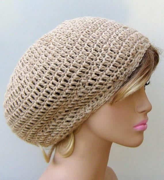 Slouchy beanie in natural tan pure alpaca, alpaca  wool beanie, small tam hat, beige slouchy beanie hat, woman men women beanie, soft warm