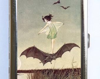 Girl Riding Bat Cigarette Case id case Wallet Business Card Holder Art Nouveau fairytale