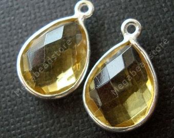2 pcs 12mm x 9mm Yellow Tear Drop Sterling Silver Bezel Citrine Hydro Charms F382S