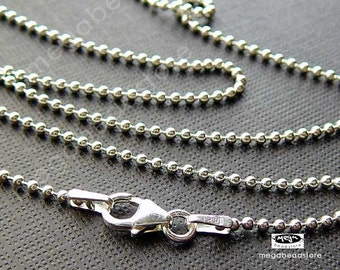 22 in 925 Sterling Silver Bead Chain 1.5mm Bead Chain Finished Necklace- FC5