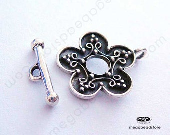 Patina Oxidized Flower Toggle Clasp Bali Sterling Silver Handmade T46-S- 2 sets