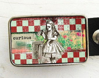 Alice in Wonderland Belt Buckle - checkerboard pattern