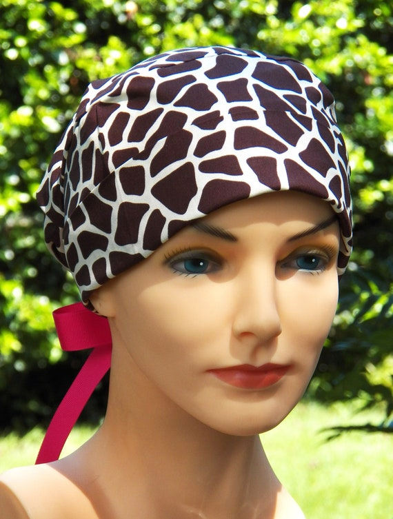 Surgical Scrub Cap or Cancer Hat -Perfect Fit Tie Back with RIBBON TIES-Brown Giraffe