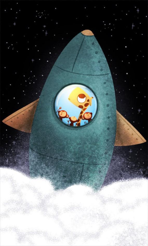 """Rocket ship Art, Boys Room Decor, Baby Boys Room, Kids Wall Art - """"Final Frontier"""""""