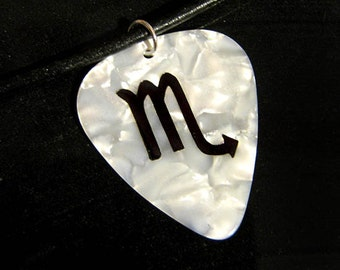 Scorpio sign guitar pick necklace, white & black, hot foil stamped