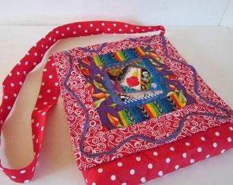 ON SALE - Sacred Heart Messenger Bag Dia De Los Muertos