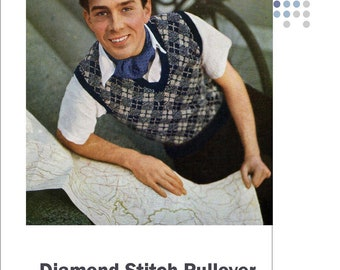 Pdf Pattern  Pullover Vest for Men 1940s Vintage Knitting in  Diamond Stitch