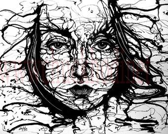 "Print 8x10"" - What Dreams May Come - Surreal Ink Lowbrow Dream Dark Art Underwater Water Ocean Sea Female Portrait Pop Art Abstract"