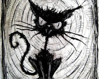 "Print 8x10"" - Black Cat - Halloween Cats Stray Spooky Alley Dark Art Pets Cute Animal Creepy Gothic Art Black and White Kitty"