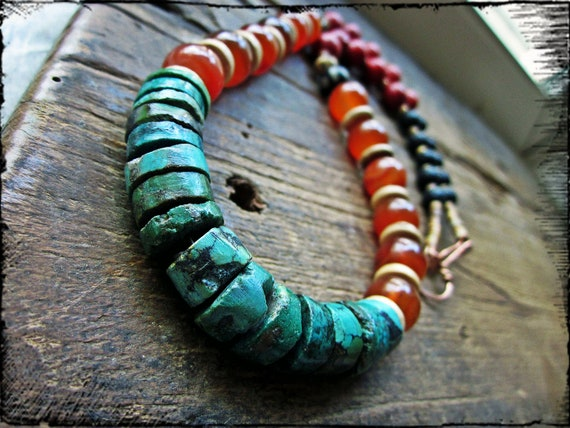 Turquoise chunky necklace, Colorful gemstones, Carnelian Coral Lava rock copper wire - Firelily