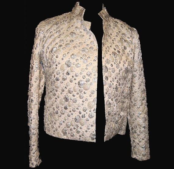 Vintage Jacket, 1960's, Silver, Metallic, Cropped, Evening, Medium, FREE US SHIPPING
