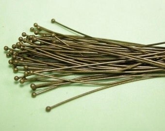 50pc 45mm long 0.6mm thickness antique bronze round head pin-6028