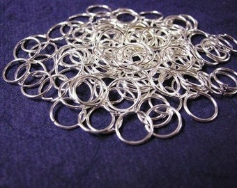 100pc 8mm bright silver finish jump rings gauge 18-3181