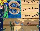 Song Writer - Original Modern Drawing 14x18