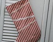 Large Farm Red Ticking Christmas Stocking Cottage Chic Upcycled and Vintage Materials