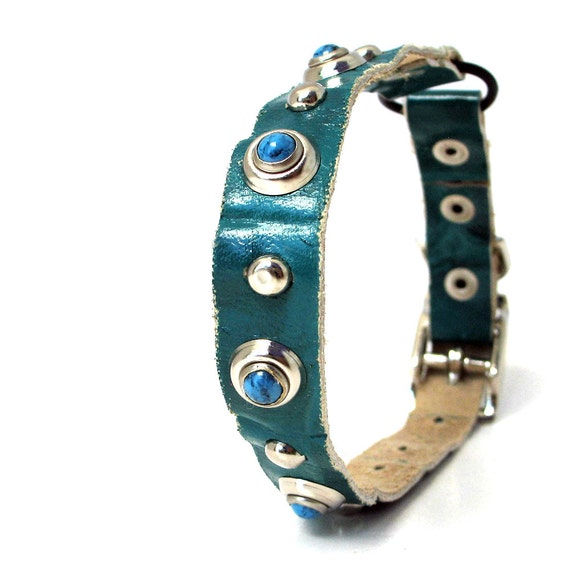 Teal Blue Leather Cat Collar with Turquoise and Silver Studs, Size XS/S, 8-10in Neck, EcoFriendly, OOAK