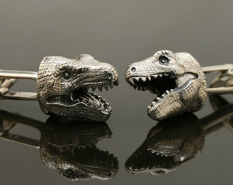 T Rex Cufflinks, Sterling Silver, handcrafted