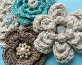 Cotton and Pearl Crochet brooch - Mocha and Ivory