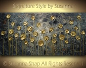 Original Landscape Painting Abstract Thick Texture Palette Knife Modern Painting Grey Gold Circle Treesby Susanna 48x24
