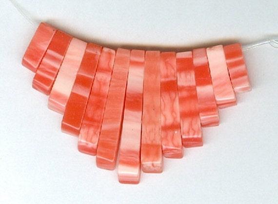 Pink Shell Mini Cleopatra Collar Fan 13pc Bead Set JY1