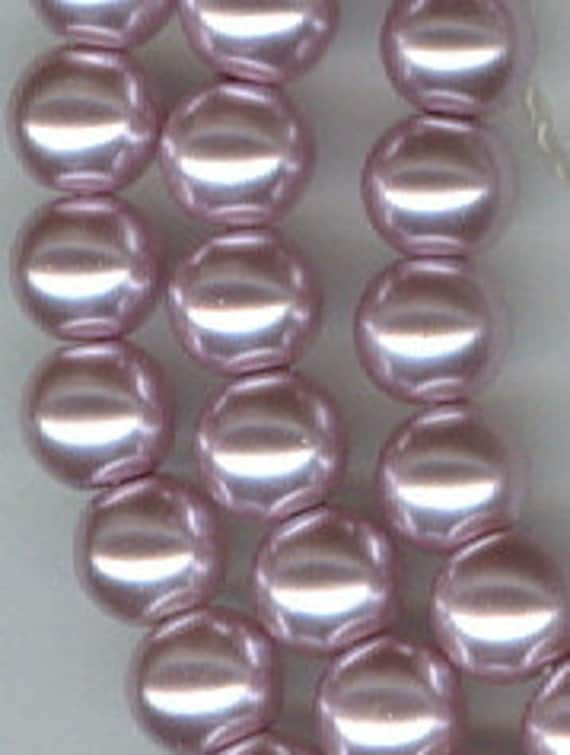 REDUCED - 6mm Light Purple Glass Pearl Round Beads