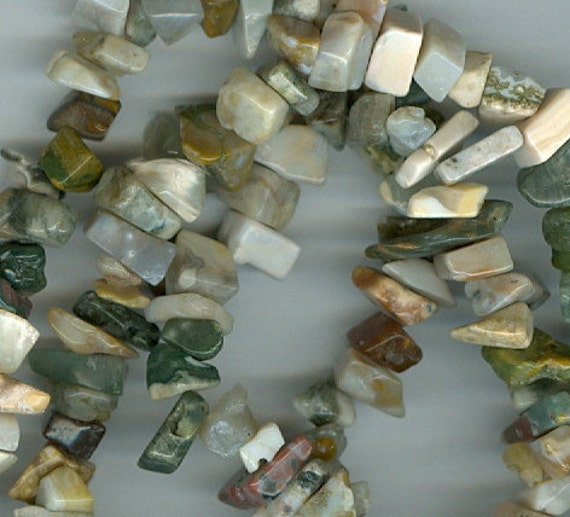 Ocean Jasper Chip Beads - 32 inch strand