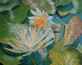 "Original Oil Painting on Canvas, ""Sun Glow"", lotus water lily painting, impressionism, impressionist art painting"