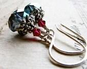 C U R I O U S. C L O U D S...Peacock crystal, ruby crystal on sterling earrings