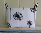 Fabric Storage Bin- Organizer- Basket- Dandelions- Black- White