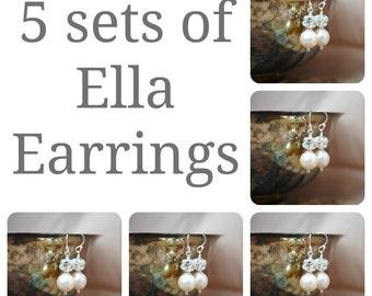 5 sets of Bridesmaids Earrings, Five Swarovski Pearl Rhinestone Ball Drop Earrings, Bridal Party Gifts, Wedding Earrings, Bridal Earrings
