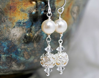 Filigree Wedding Earrings, Dangle Bridal Earrings, Victorian Inspired Wedding Earrings, Drop Bridesmaids Earrings, Swarovski Ivory Pearls