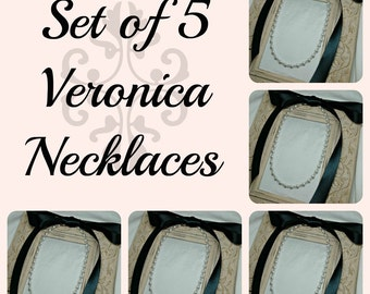 Set of 5 Bridesmaids Necklaces, Five Ribbon Necklaces, Pearl and Crystal Necklaces, Bridal Jewelry, Bridesmaids Gifts, Ribbon Jewelry