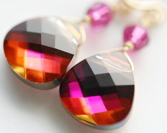 Pink Orange Purple Bridesmaid Earrings, Swarovski Crystal Briolette, Fuchsia, 14K Gold Fill Wire Wrapped