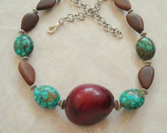 Tagua Necklace with Mosaic Turquoise and Wooden Bead Necklace