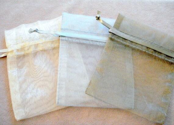 12 Beige,Light  or Dark Grey Organza Bags