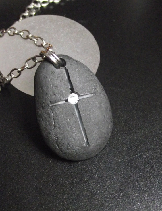 RESERVED for SJP - Beach Stone Jewelry - Engraved Beachstone With Swarovski Crystal Necklace - FAITH