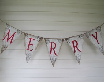 MERRY....Rustic Style White Painted Burlap Banner