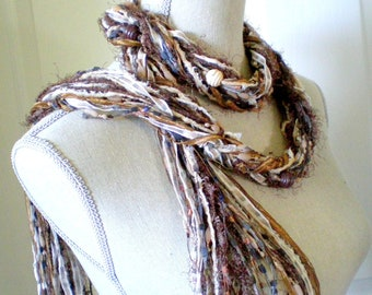 Knot Scarf with Beads - Long Mocha Latte