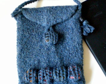 eReader Case Carrier for the Kindle Fire, Nook, i-Pad Mini, Kobo - Felted Wool - Made to Order - Blue Spot