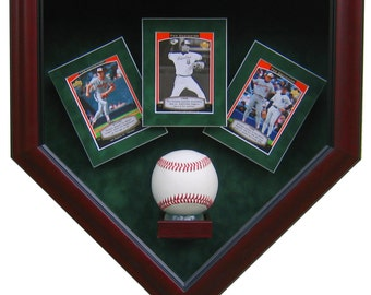 1 Baseball and 3 Cards Homeplate Shaped Display Case