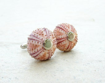 Sea Urchin Cufflinks in Pink, Beach Wedding, Groom Cuff links