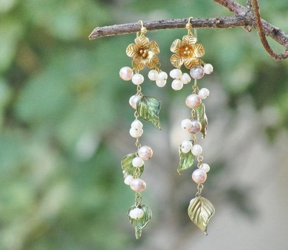 Long Gold filled Pearl Earrings