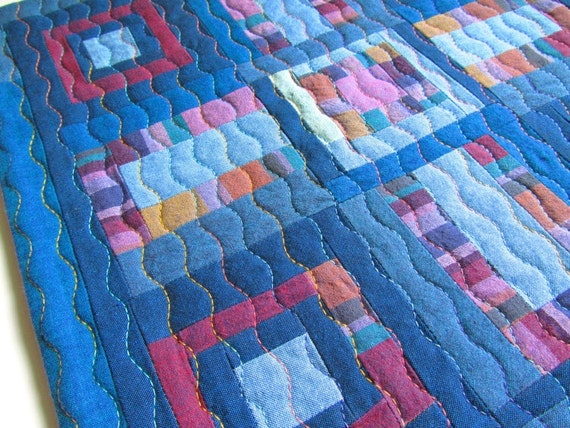 Fiber Art / Quilted Wall Hanging / Patchwork Quilt / Textile Wall Hanging / Wall Decor / Modern Art Quilt
